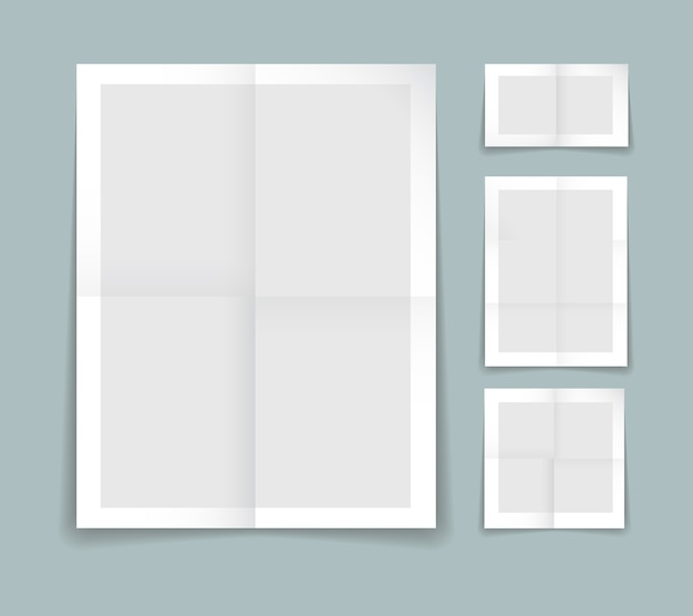 Plantilla de papel doblado con cuatro hojas diferentes de papel gris con bordes blancos