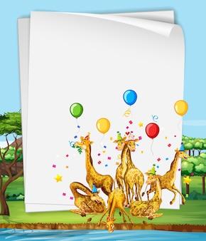 Plantilla de papel con jirafas en una fiesta en el bosque.
