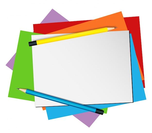 Plantilla de papel con lápices y papeles de color
