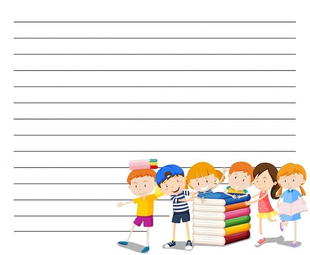 Plantilla de papel de línea con niños leyendo el fondo del libro