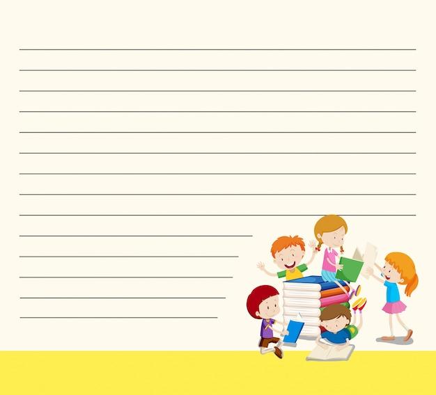 Plantilla de papel de línea con niños leyendo libros