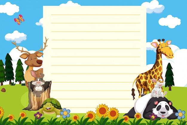 Plantilla de papel con muchos animales en el jardín
