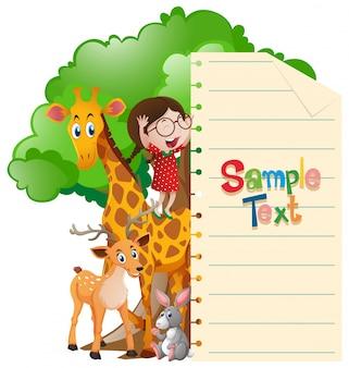 Plantilla de papel con la niña y los animales salvajes