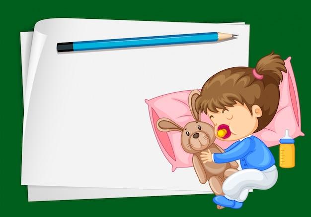 Plantilla de papel con niña durmiendo