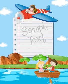 Plantilla de papel con niños en bote y avión