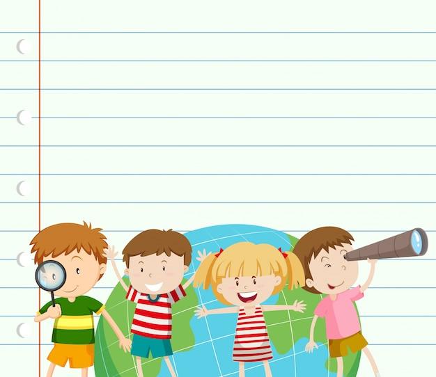 Plantilla de papel con niños y tierra