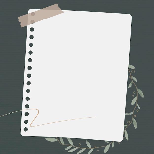 Plantilla de papel de nota floral