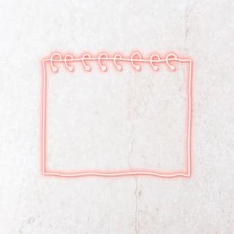 Plantilla de papel de nota de neón rosa