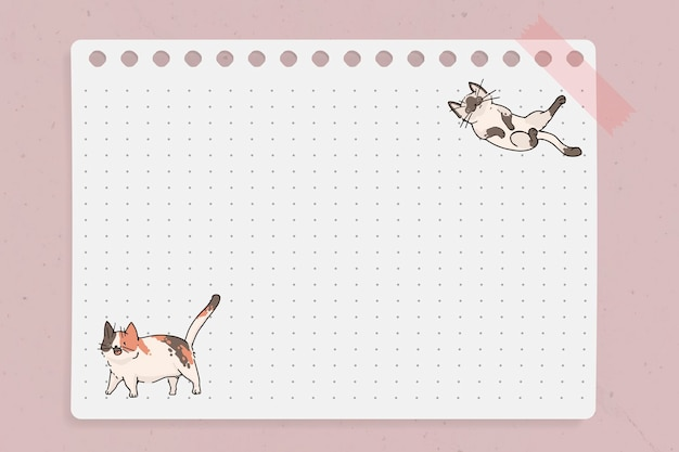 Plantilla de papel de nota punteada con patrón de amante de gato