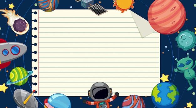 Plantilla de papel con planetas en el fondo del espacio