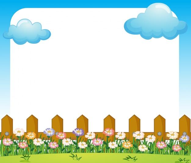 Una plantilla de papel vacío con un jardín y nubes
