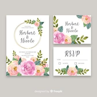Plantilla de papelería de boda acuarela