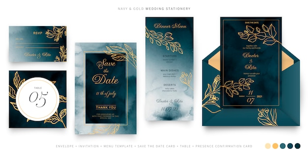 Plantilla de papelería de boda azul marino y dorada