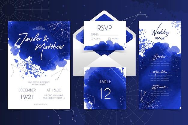 Plantilla de papelería de boda celestial