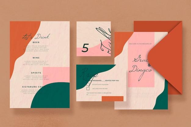 Plantilla de papelería de boda diseño manchado de color