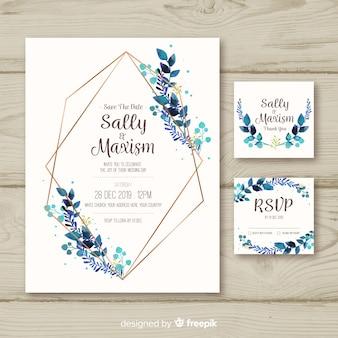 Plantilla de papelería de boda en diseño plano