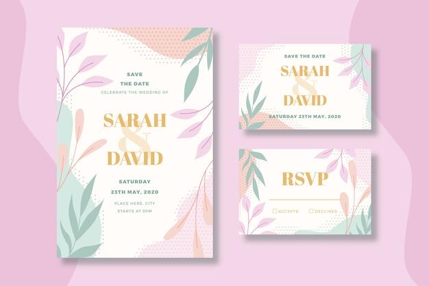 Plantilla de papelería de boda floral
