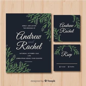 Plantilla de papelería de boda de follaje plano