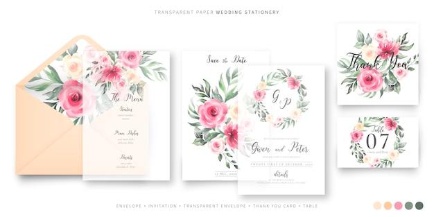 Plantilla de papelería de boda hermosa