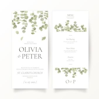 Plantilla de papelería de boda de hoja de eucalipto
