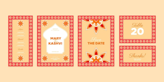 Plantilla de papelería de boda india
