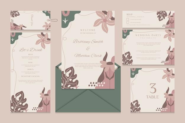 Plantilla de papelería de boda con menú