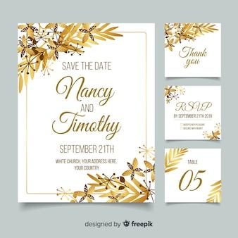 Plantilla de papelería de boda de oro en diseño plano