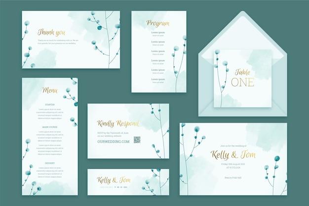 Plantilla de papelería de boda pastel