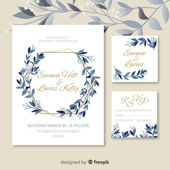 Plantilla de papelería de boda plana