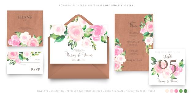 Plantilla de papelería de boda romántica