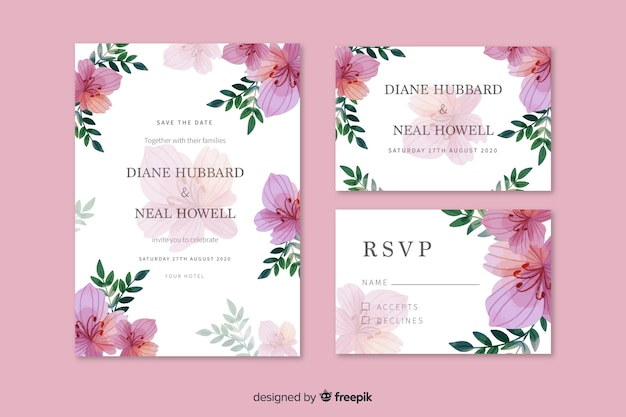 Plantilla de papelería de boda rosa acuarela