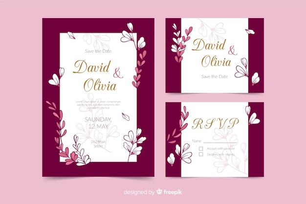 Plantilla de papelería de boda rosa en diseño plano