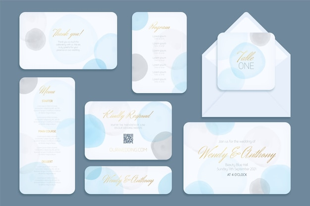 Plantilla de papelería de boda tarjetas y sobres
