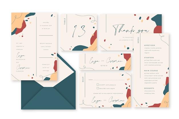 Plantilla de papelería de boda de terracota