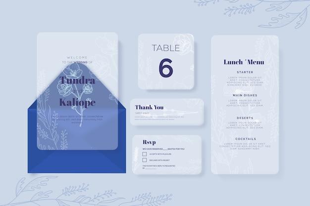 Plantilla de papelería de boda en tonos de azul