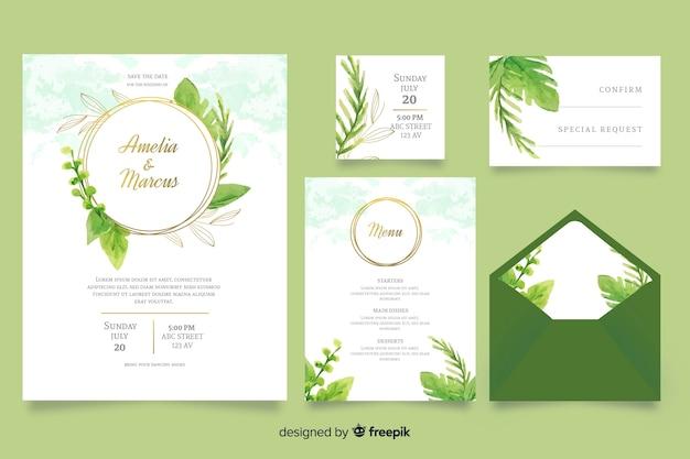 Plantilla de papelería de boda verde acuarela