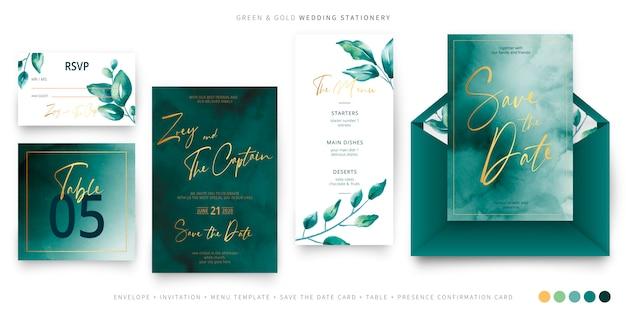 Plantilla de papelería de boda verde y oro