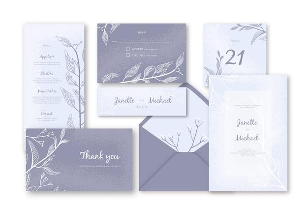 Plantilla de papelería de boda