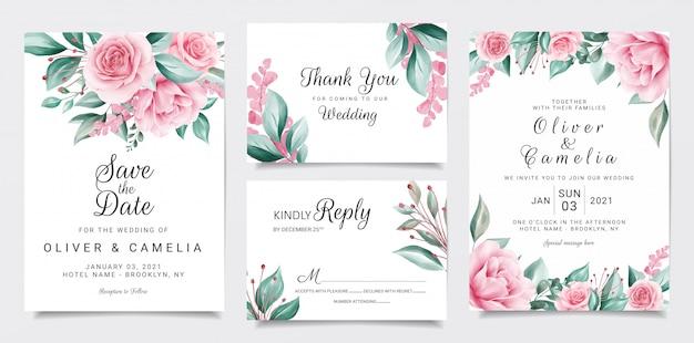 Plantilla de papelería de invitación de boda botánica con decoración de flores acuarela