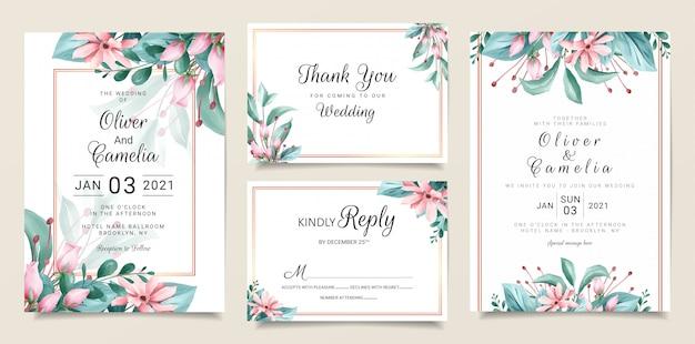 Plantilla de papelería de invitación de boda vintage con acuarela floral y decoración de borde dorado