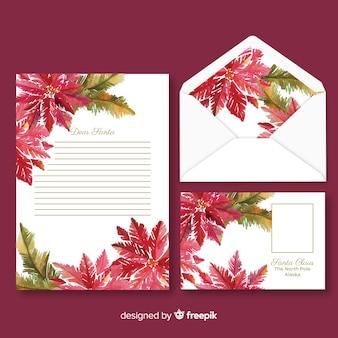Plantilla de papelería de navidad acuarela con flores