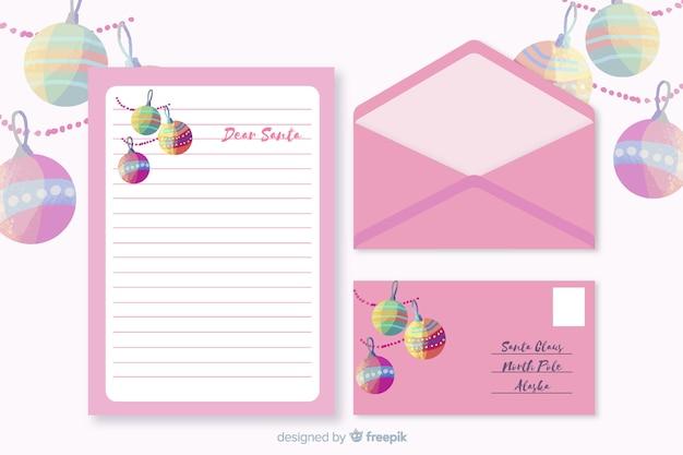 Plantilla de papelería de navidad acuarela con letra morada
