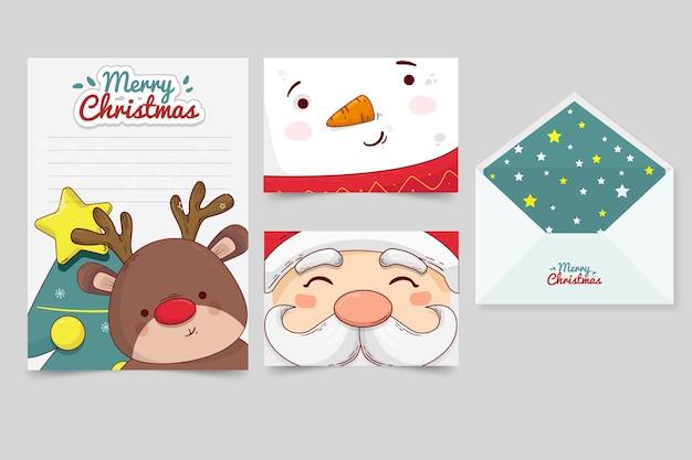 Plantilla de papelería de navidad dibujada a mano