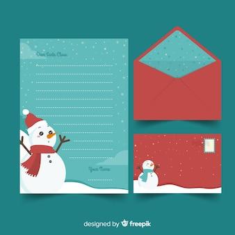 Plantilla de papelería de navidad de diseño plano con muñeco de nieve