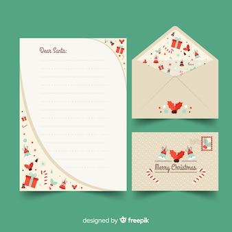 Plantilla de papelería de navidad de diseño plano con regalos