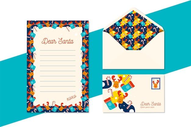 Plantilla de papelería de navidad de diseño plano