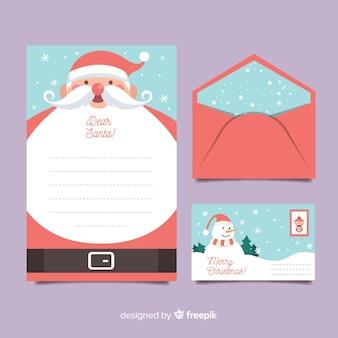 Plantilla de papelería de navidad plana con barba de santa
