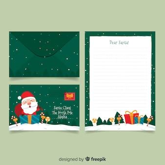 Plantilla de papelería de navidad plana sobre fondo verde
