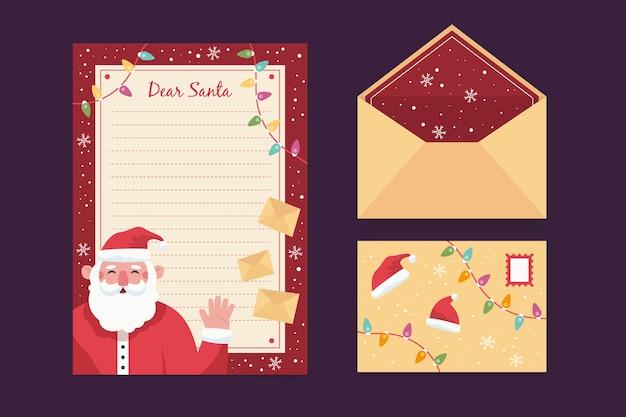 Plantilla de papelería de navidad plana