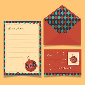 Plantilla de papelería de navidad vintage